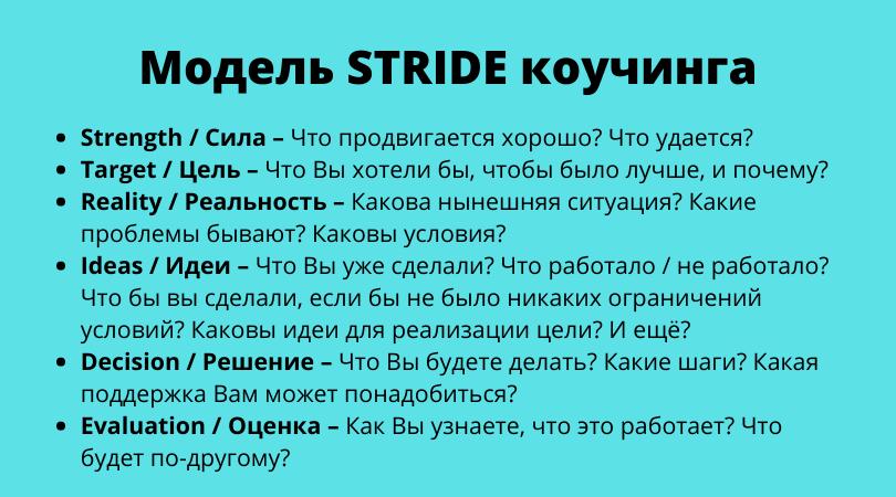 Модель коучинга STRIDE
