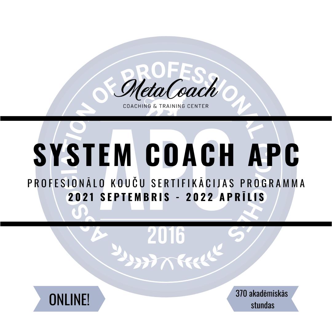 """Koučinga apmācību programma ar sertifikāciju """"System Coach APC"""" (ONLINE)"""